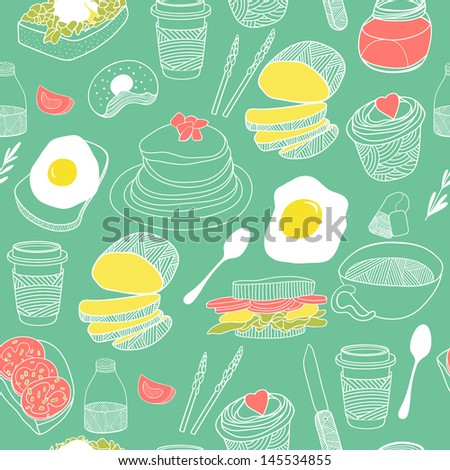 Food seamless pattern. Hand drawn vector theme. Good for backgrounds, fabric, kitchen and cafe stuff - stock vector