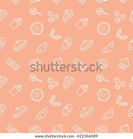 Food Seamless pattern Sweets Donut Cake lollipop pie ice cream chocolate sweets ,ilk shake cupcake - stock vector