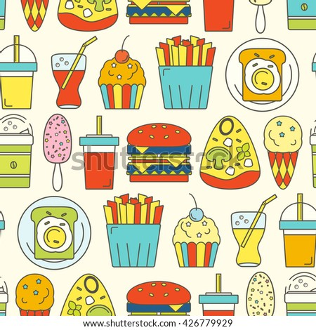 Food seamless pattern. Vector illustration.