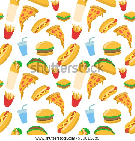 stock vector food seamless pattern vector illustration junk food illustration with pizza burger french fries 530011885 - Каталог — Фотообои «Еда, фрукты, для кухни»
