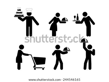 food service people, waiters icon vector illustration isolated on white background - stock vector