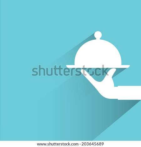 food serving, blue background, flat and shadow theme - stock vector