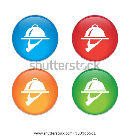 Food Serving Tray Platter. glossy button. vector. - stock vector