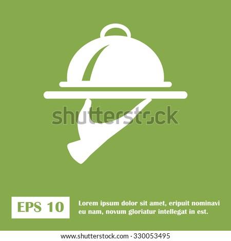 Food Serving Tray Platter. green icon. vector. - stock vector