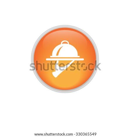Food Serving Tray Platter. orange button. vector. - stock vector