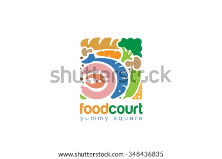 Food set Gourmet Square Logo Shop abstract design vector template. Fish Bread Meat Vegetables assortment Store Logotype concept icon - stock vector