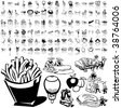 Food set of black sketch. Part 5-1. Isolated groups and layers. - stock photo