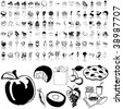 Food set of black sketch. Part 3-2. Isolated groups and layers. - stock vector