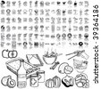 Food set of black sketch. Part 1-3. Isolated groups and layers. - stock vector