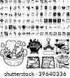 Food set of black sketch. Part 8-4. Isolated groups and layers. - stock vector