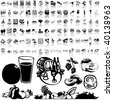 Food set of black sketch. Part 7-5. Isolated groups and layers. - stock photo