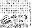 Food set of black sketch. Part 5-8. Isolated groups and layers. - stock photo