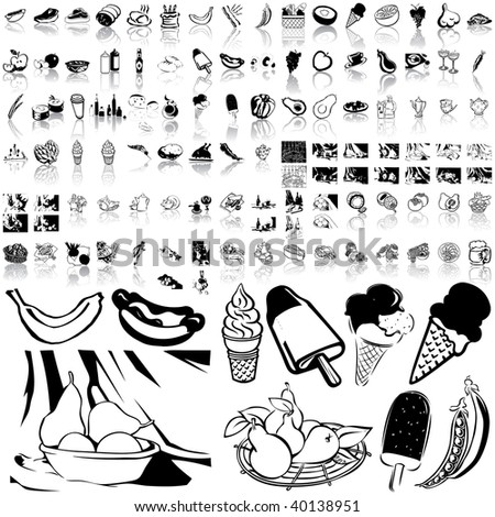 Food set of black sketch. Part 2-5. Isolated groups and layers.