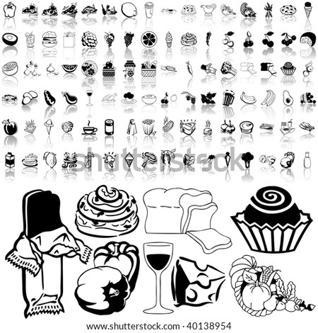Food set of black sketch. Part 3-5. Isolated groups and layers.