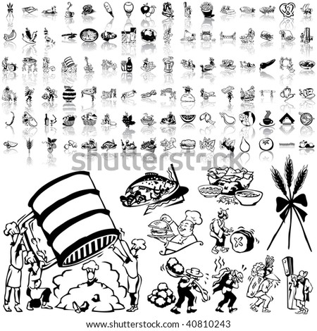 Food set of black sketch. Part 5-8. Isolated groups and layers. - stock vector