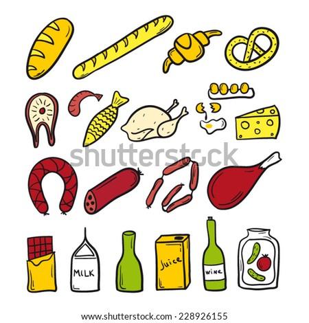 Food set sketch color - stock vector