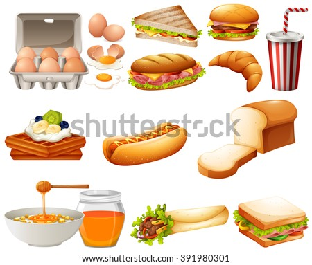 Food set with different kind of meals illustration - stock vector