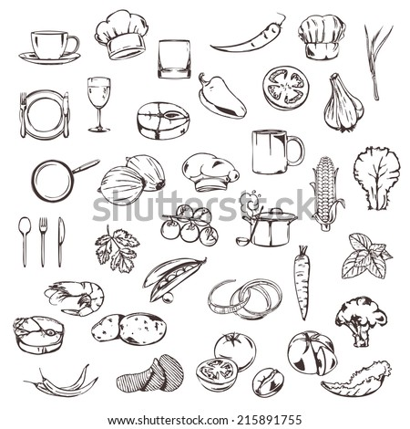 Food, sketches of icons vector set - stock vector