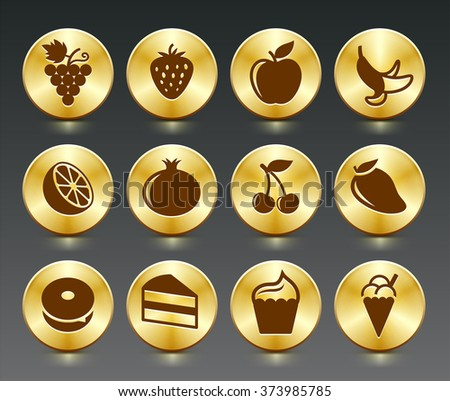 Food Sweets and Snacks on Gold Round Buttons