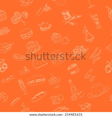 food, sweets, vector icons food, seamless - stock vector