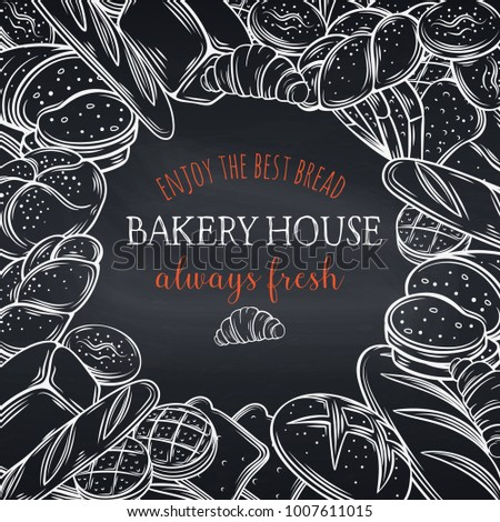 Food Template Frame And Page Design For Bakery Chalkboard Style Hand Drawn Sketch Rye