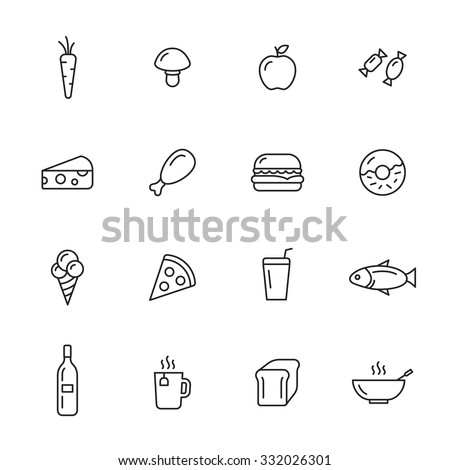 Food thin line icons