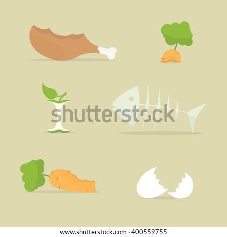 food trash icon set - stock vector