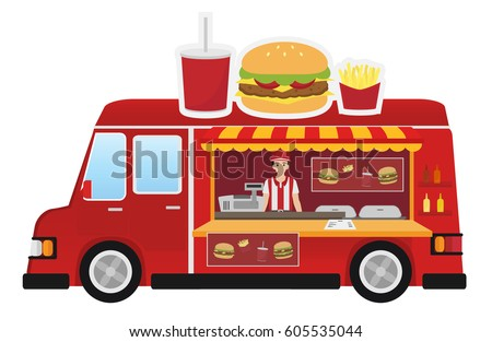Food Truck Burger Cartoon Flat Style Isolated On White Background Vector