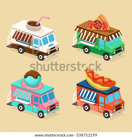 Food Truck Designs of Pizza, Coffee, Hot Dog and Ice Cream. Set of Vector Icons. - stock vector