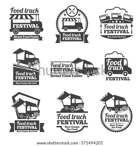 Food truck festival emblems and logos vector set. Festival street food, badge food festival, emblem food truck illustration - stock vector