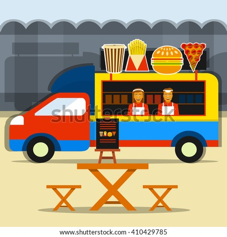 Food truck festival. Street food truck with seller and seating areas. - stock vector
