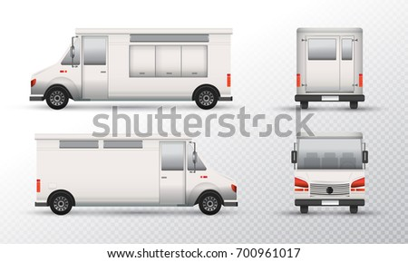 Food Truck Template Design White Mock Up Identity For Transparent Background Isolated