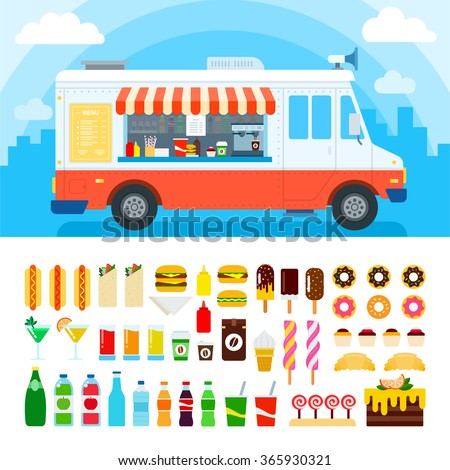 Food truck vector flat illustrations. Retro foods truck with fast food against the sky. Nutrition concept. Junk food, beverages, confectionery, coffee and cakes isolated on white background - stock vector
