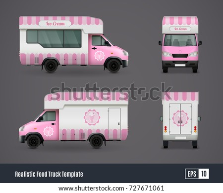 Food Trucks Realistic Ad Template Design Stock Vector HD Royalty - Food truck design template