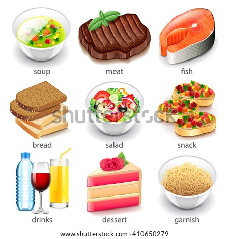Food types icons detailed photo realistic vector set