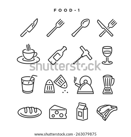 Food vector icons. Elements for print, mobile and web applications. - stock vector