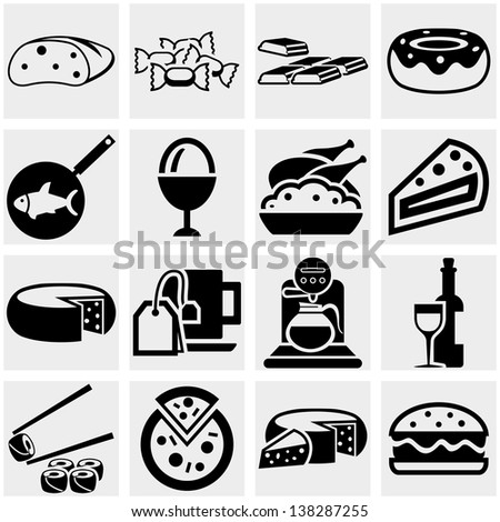 Food vector icons set on gray. - stock vector