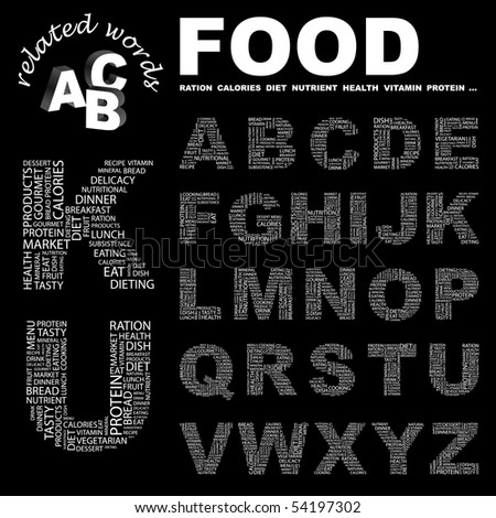 FOOD. Vector letter collection. Wordcloud illustration.