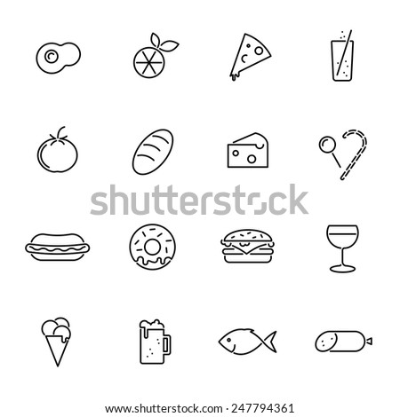 Food vector line icons set. Collection of 16 food related black line icons vector illustration - stock vector