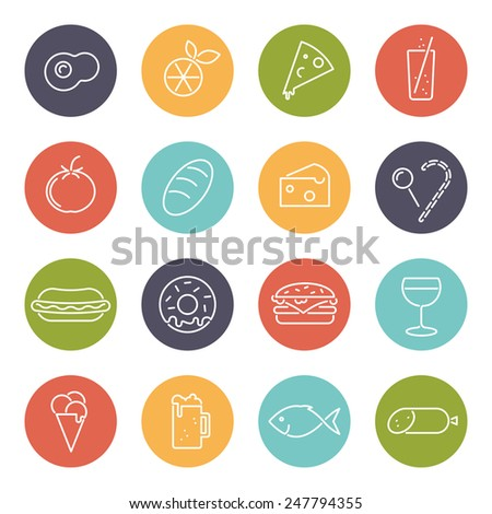 Food vector line icons set. Collection of 16 modern food line icons in circles vector illustration. - stock vector