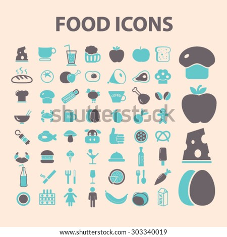 food, vegetables, fruits, grocery flat isolated icons, signs, illustrations set, vector