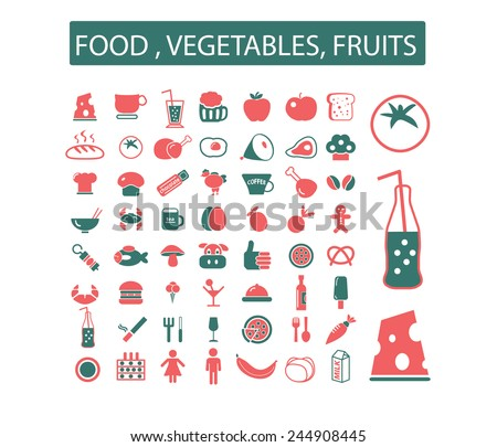 food, vegetables, fruits icons, signs, illustrations set, vector - stock vector