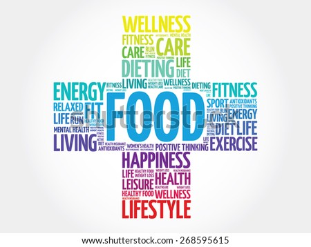 FOOD word cloud, health cross concept - stock vector