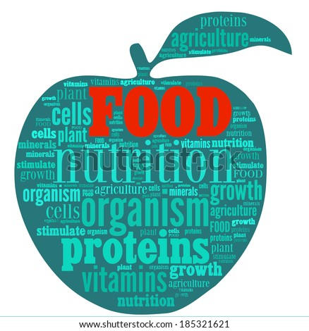 Food word cloud in shape of an apple - stock vector