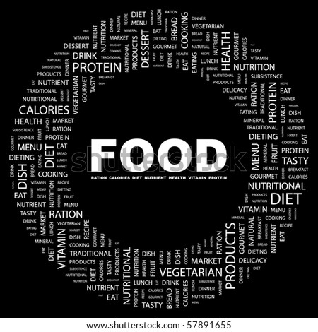 FOOD. Word collage on black background. Illustration with different association terms.