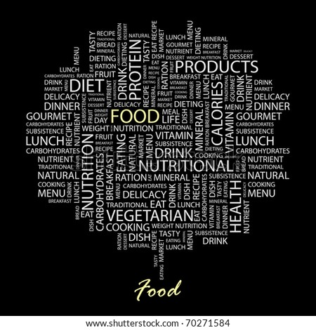 FOOD. Word collage on black background. Illustration with different association terms. - stock vector