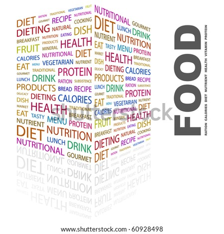 FOOD. Word collage on white background. Illustration with different association terms. - stock vector
