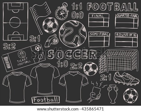 Foodball doodles set. Soccer pencil effect sketches. European football theme sport elements. - stock vector