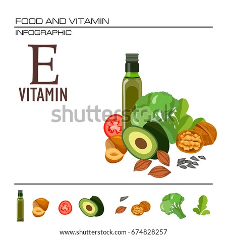 Foods containing vitamin e source vitamin stock vector 674828257 foods containing vitamin e source of vitamin e nuts corn vegetables workwithnaturefo