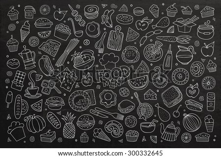 Foods doodles hand drawn chalkboard vector symbols and objects